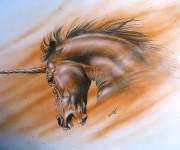 unicorno - tecnica matita e aerografo