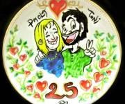 caricatura su ceramica
