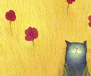 campo giallo con gatto