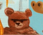 hungry bear particolare illustrazione per libro eco del bosco II