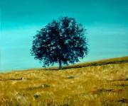 Blue tree in a grain field