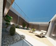 rendering 3d giardino esterno