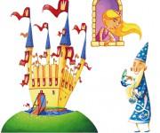 illustrazione medioevo - merlino, principessa, castello,