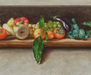 La melanzana volante, frutta e verdura in una nicchia