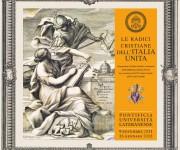 """PONTIFICIA UNIVERSITA' LATERANENSE, Mostra libraria """"Le radici cristiane dell'Italia unita�: allestimento, primo pannello"""