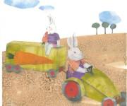 conigli sul trattore