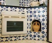 particolare della cucina in muratura