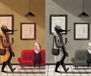di nuovo insieme illustrazione a colori e in biano e nero per libro eco del boscoII