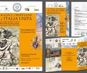 """PONTIFICIA UNIVERSITA' LATERANENSE, Mostra libraria """"Le radici cristiane dell'Italia unita�: Locandina, invito, programma e allestimento"""