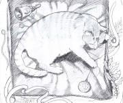 Studio preparatorio per: gatto/Natale, soggetto per découpage