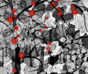 fiori rossi - pannello arredamento