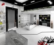 Layout interno di negozio monomarca abbigliamento e accessori di lusso 01