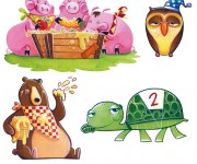 illustrazione animali, orso, tartaruga, maialini