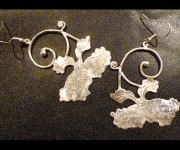 orecchini peonia giapponese in argento
