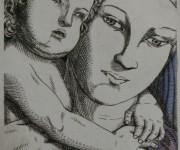 Maternita' del Mantegna - Incisione Calcografica a bulino