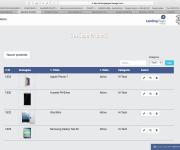 Schermata prodotti Landing Pages Manager