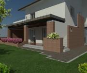 Il nuovo portico in muratura e copertura in legno e zinco apre al giardino