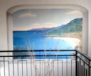 trompe-l'oeil, pittura acrilica ad acqua su muro