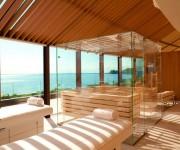 Cabina trattamenti di coppia con sauna interamente vetrata