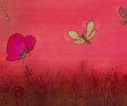 tre farfalle e tre gocce rosse