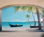 trompe l'oeil dipinto su muro, pittura acrilica ad acqua