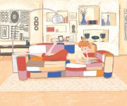reading on the sofa