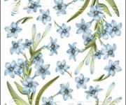 carta decoupage con fiori azzurri