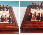 Scacchiera e scacchi  in terracotta smaltata, pezzo unico, realizzato a mano