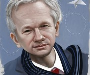 julian assange caricature